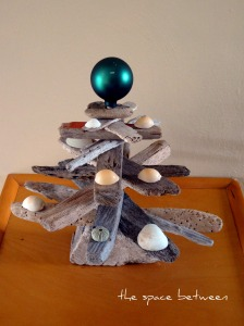 christmas tree made from small piece of driftwood